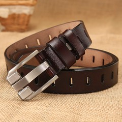 Ladies belt retro wild hollow belt female leather belt women's pin buckle wide belt-110CM-brown