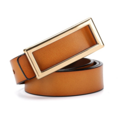 Women's leather belt Korean sweet lady leather smooth buckle clothing with belt-110CM-khaki-gold