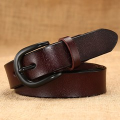 Women's belt ladies leather hollow belt black pin buckle leather ladies belt women models-110CM-brown