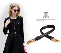 Summer belt ladies decorative belt Korean version of the sweet belt women's clothing with women-110CM-black