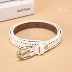 Wild leather thin belt women's Korean version of the wild women's pin buckle leather belt decorative belt-110CM-white