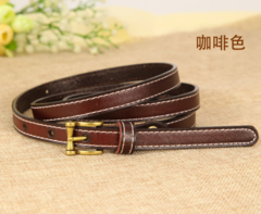 Leather belt wild Korean version of the real cowhide decorative jeans small belt retro pin buckle belt women-110CM-brown