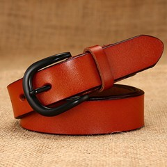 Women's belt ladies leather hollow belt black pin buckle leather ladies belt women models-110CM-orange