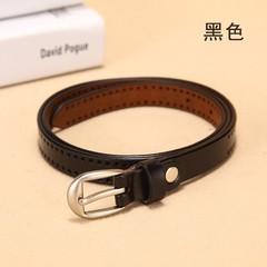 Wild leather thin belt women's Korean version of the wild women's pin buckle leather belt decorative belt-110CM-black