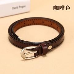 Wild leather thin belt women's Korean version of the wild women's pin buckle leather belt decorative belt-110CM-brown