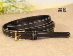 Leather belt wild Korean version of the real cowhide decorative jeans small belt retro pin buckle belt women-110CM-black