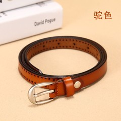 Wild leather thin belt women's Korean version of the wild women's pin buckle leather belt decorative belt-110CM-orange