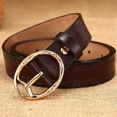 Ladies leather belt retro wild leather ladies belt pin buckle wide belt female models-110CM-brown