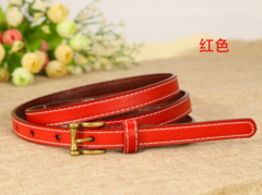 Leather belt wild Korean version of the real cowhide decorative jeans small belt retro pin buckle belt women-110CM-red