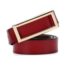 Women's leather belt Korean sweet lady leather smooth buckle clothing with belt-110CM-red-gold