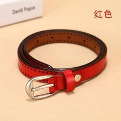 Wild leather thin belt women's Korean version of the wild women's pin buckle leather belt decorative belt-110CM-red