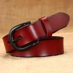 Women's belt ladies leather hollow belt black pin buckle leather ladies belt women models-110CM-red