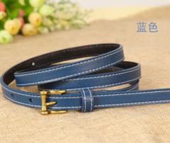 Leather belt wild Korean version of the real cowhide decorative jeans small belt retro pin buckle belt women-110CM-blue