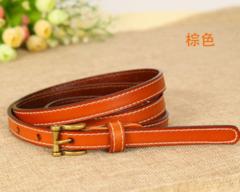 Leather belt wild Korean version of the real cowhide decorative jeans small belt retro pin buckle belt women-110CM-orange