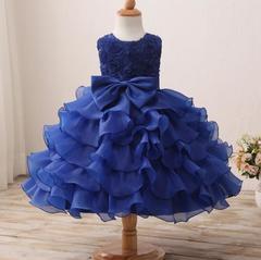 New children's dress skirt flower girl dress children's wedding cake skirt children's wear-Dark Blue dark blue 70cm