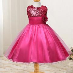 New children's skirt girls wedding dress summer sleeveless princess dress - rose red rose red 70cm