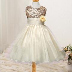 New children's skirt girls wedding dress summer sleeveless princess dress children's costumes-white white 70cm