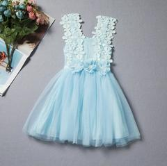 New children's lace crochet skirt children's vest dress - blue blue 90cm