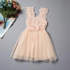 New children's lace crochet skirt children's vest dress - pink pink 90cm
