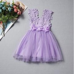 New children's lace crochet skirt children's vest dress - purple purple 90cm