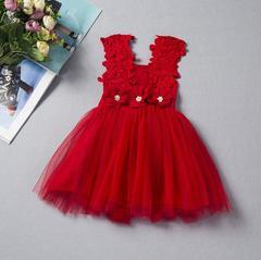 New children's lace crochet skirt children's vest dress - red red 90cm