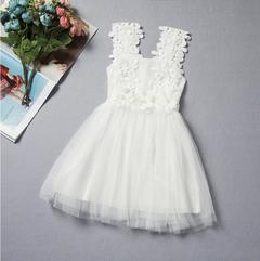 New children's lace crochet skirt children's vest dress - white white 90cm