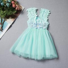 New children's lace crochet skirt children's vest dress - green green 90cm