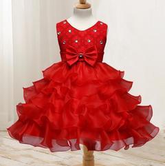 New children's clothing flower girl dress children's dress wedding flower girl princess skirt red 70cm