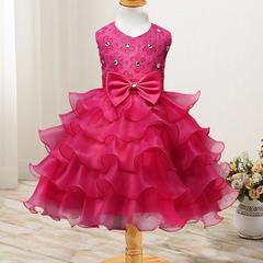 New children's clothing flower girl dress children's dress wedding flower girl princess skirt rose red 70cm