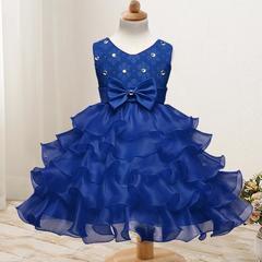 New children's clothing flower girl dress children's dress wedding flower girl princess skirt blue 70cm