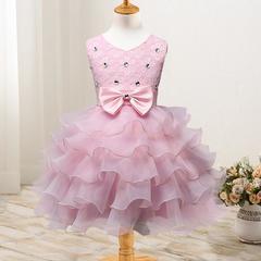 New children's clothing flower girl dress children's dress wedding flower girl princess skirt pink 70cm