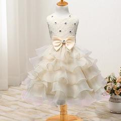 New children's clothing flower girl dress children's dress wedding flower girl princess skirt yellow 70cm