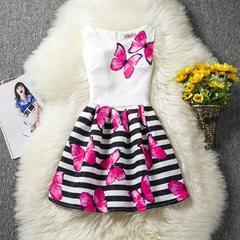 New Print Sleeveless Girls Dress Fashion Slim Skirt red 130cm