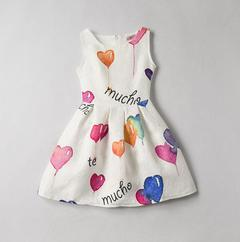 New Print Sleeveless Girls Dress Fashion Slim Skirt white 130cm