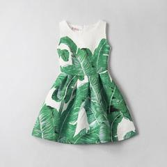 New Print Sleeveless Girls Dress Fashion Slim Skirt green 130cm