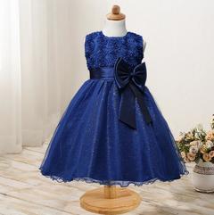 New rose skirt bow girl dress wedding dress princess dress navy 90cm
