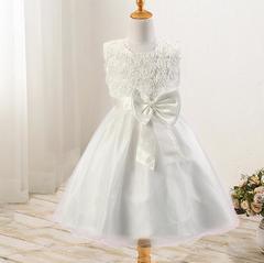 New rose skirt bow girl dress wedding dress princess dress white 70cm