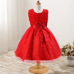 New rose skirt bow girl dress wedding dress princess dress red 70cm
