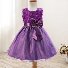 New rose skirt bow girl dress wedding dress princess dress purple 70cm