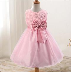 New rose skirt bow girl dress wedding dress princess dress pink 70cm