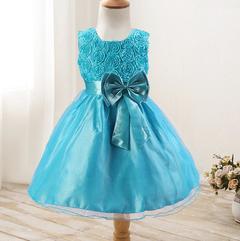 New rose skirt bow girl dress wedding dress princess dress blue 70cm