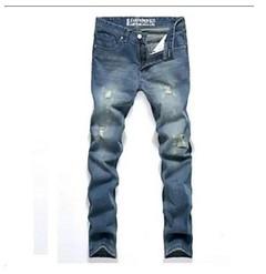Fashion Fashion Men's Tapered Jeans Robin Jeans Pants Men Denim Pants Male Ripped Hole Jeans blue 28
