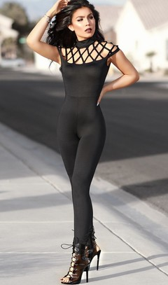 Fashion European stylish ladies sexy jumpsuit solid bodycon jumpsuit sleeveless overalls s black