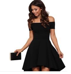 Fashion Off Shoulder Strapless  Dovetail Tube Dress Sexy Elegant Slim Party  midi dress s black