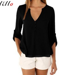 Fashion V-neck sexy long-sleeved waist irregular shirt casual loose pure color chiffon s black