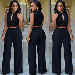 Fashion New Summer  Jumpsuits Office Lady Single-breasted High Elasticity Straight Rompers s black