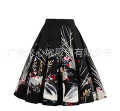 Fashion Vintage Bubble Skirt Flower Flamingo Flower Prints Skater Swing Zipper Knee Midi Women Skirt s picture color