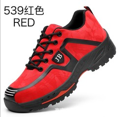 Labor insurance shoes men's lightweight breathable shoes anti- shoes red 39