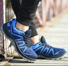 Flying woven solid PU bottom labor insurance shoes flying woven breathable safety shoes blue 39