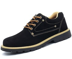 Beef tendon bottom anti-smashing safety wear-resistant oil-resistant fur low-cut protective shoes black 39